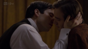 Rob James-Collier as Thomas kisses Charlie Cox as The Duke on the pilot of Downton Abbey